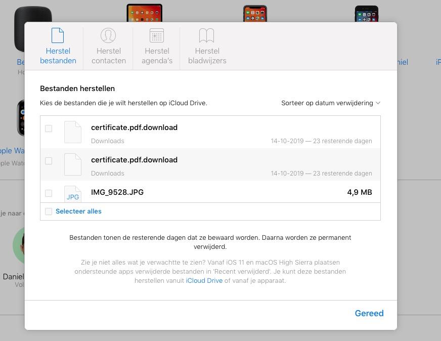 iCloud bestanden herstellen