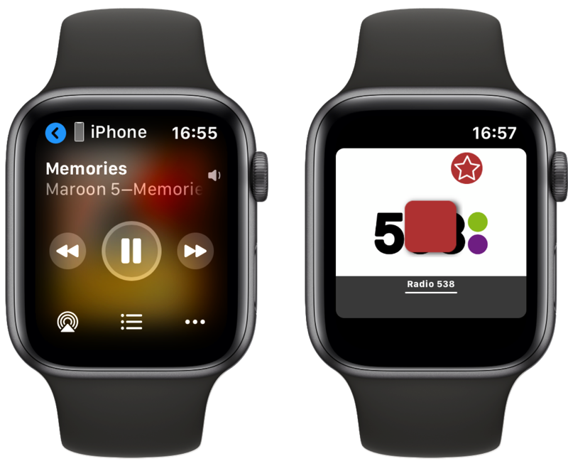 Muziekbediening op Apple Watch.