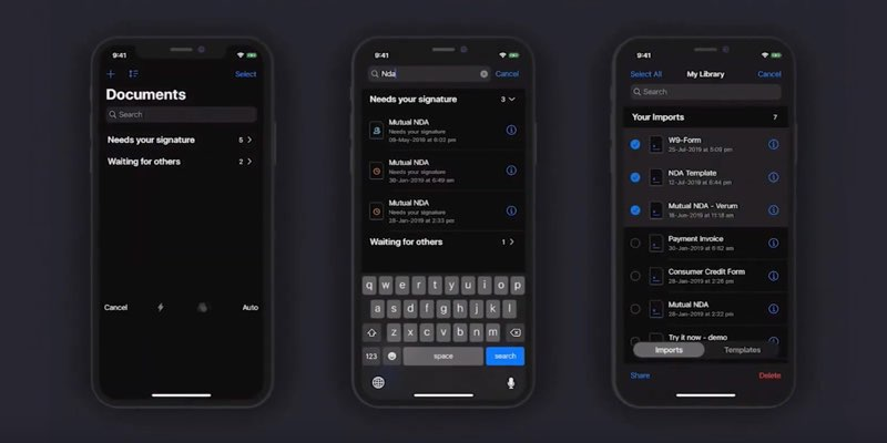 SignEasy in iOS 13
