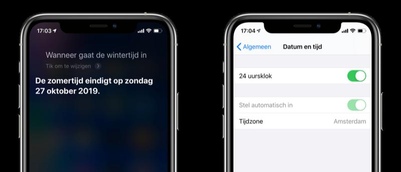 iPhone wintertijd 2019.