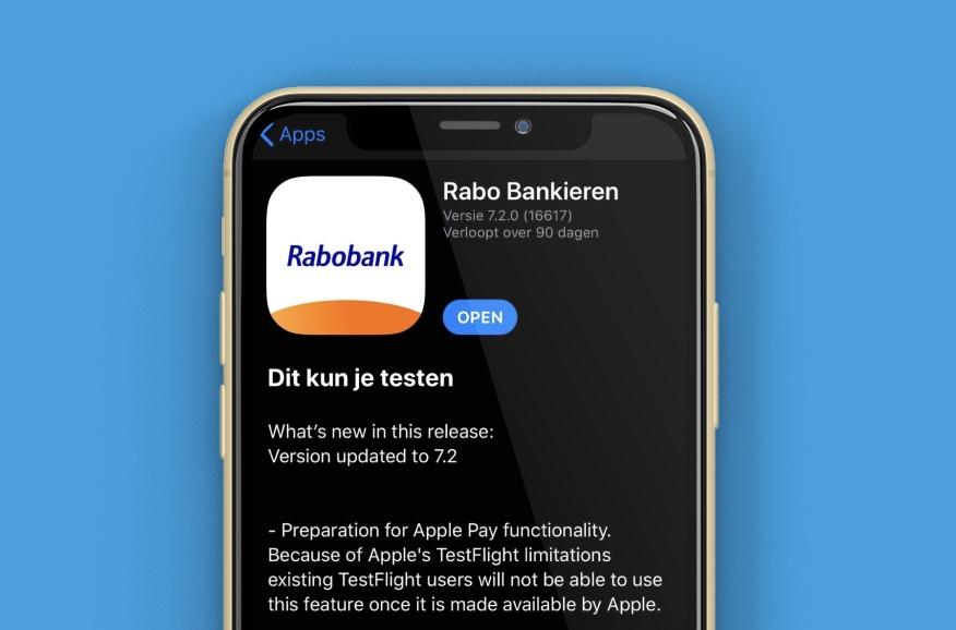 Apple Pay Rabobank TestFlight