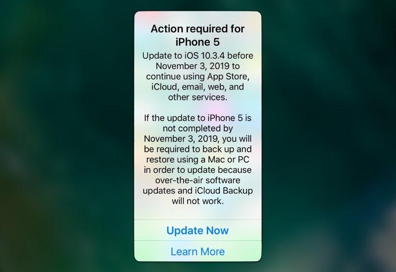 iPhone 5 verplicht updaten