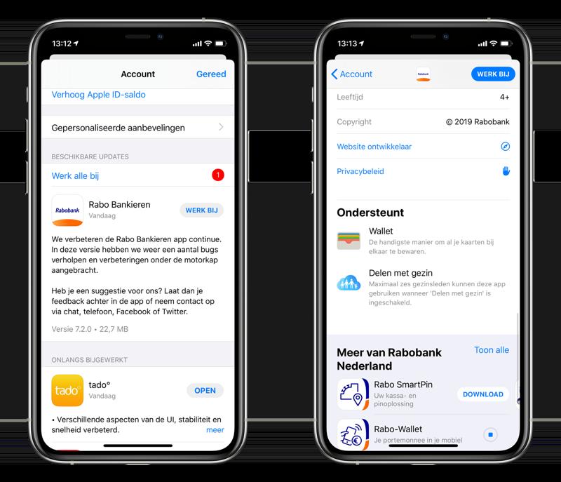 Rabobank-app met Wallet-ondersteuning.