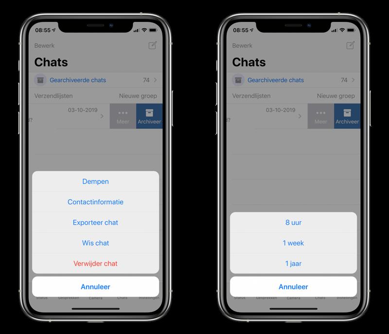 WhatsApp gesprek muten.