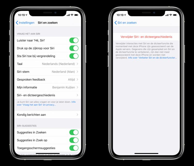 Siri opnames verwijderen van je iPhone.
