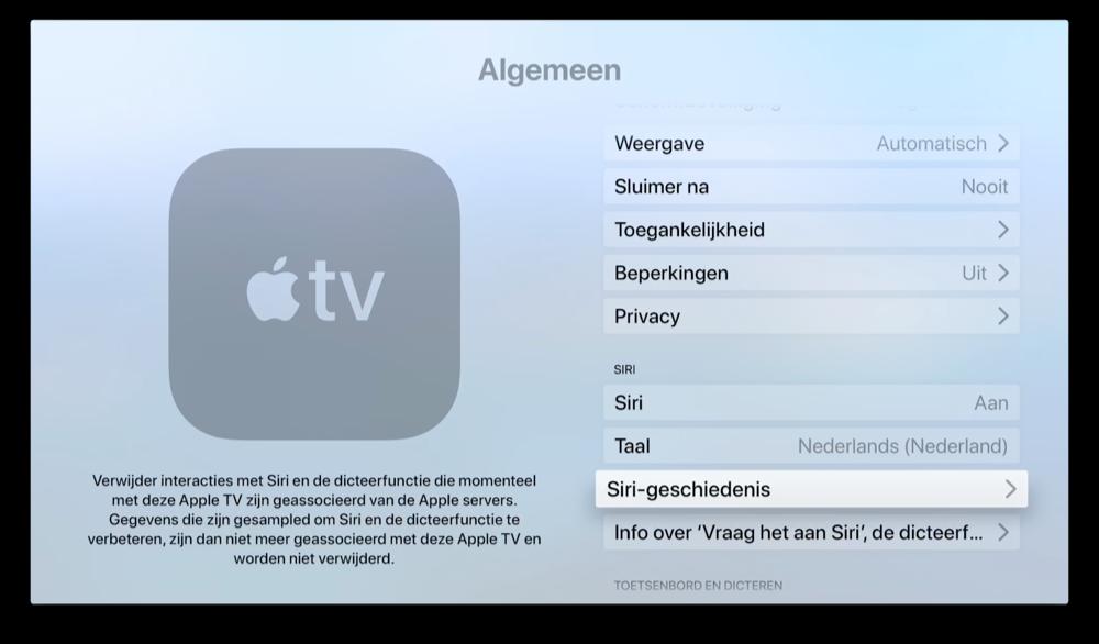 Siri spraakopnames verwijderen op Apple TV.