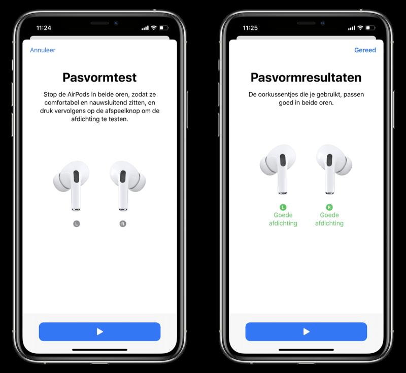 AirPods Pro pasvormtest en oordopjes checken.