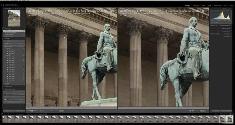 Pixel-shift voorbeeld standbeeld