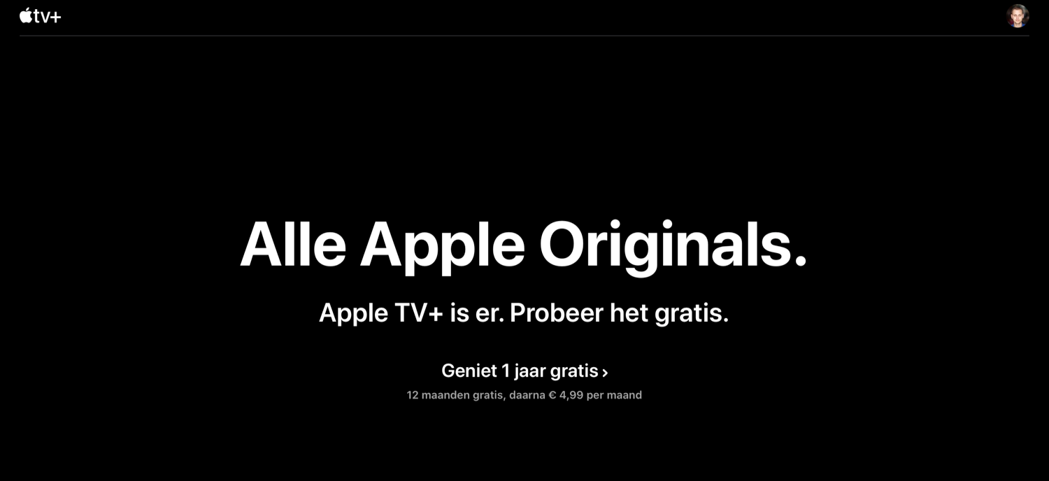 Apple TV+ gratis 1 jaar.