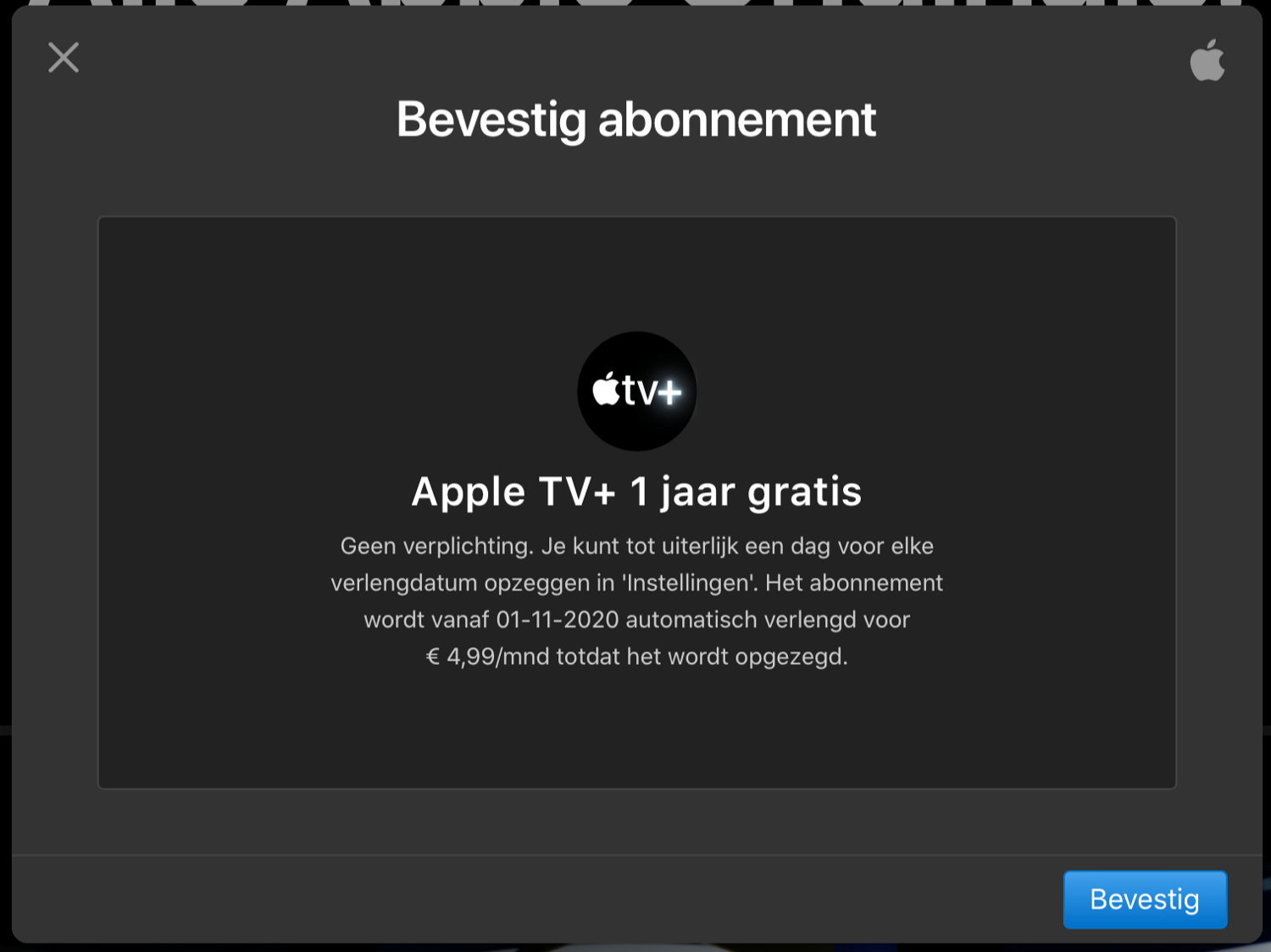 Apple TV+ gratis jaar starten.
