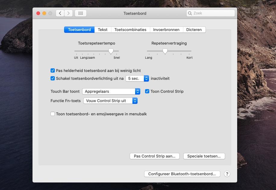 Touch Bar aanpassen Systeemvoorkeuren