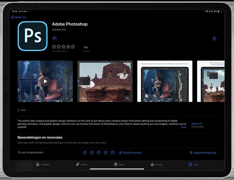 Photoshop voor iPad downloaden