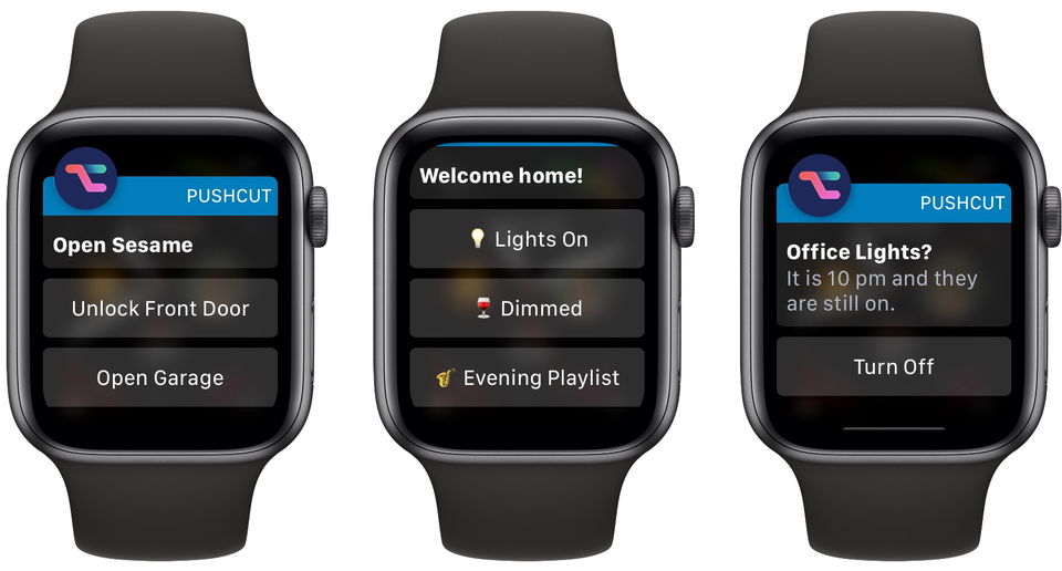 Pushcut op Apple Watch met meldingen.