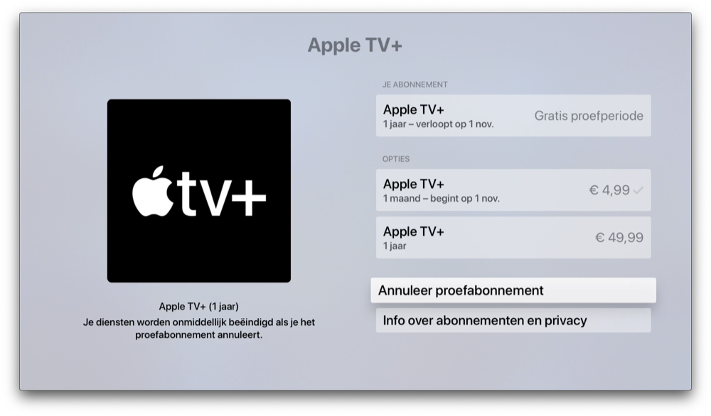 Apple TV Plus opzeggen op Apple TV.