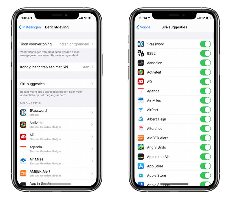 Siri-suggesties op toegangsscherm.