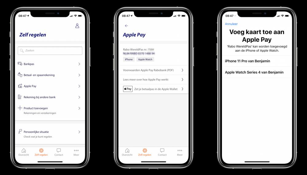 Rabobank Apple Pay instellen.