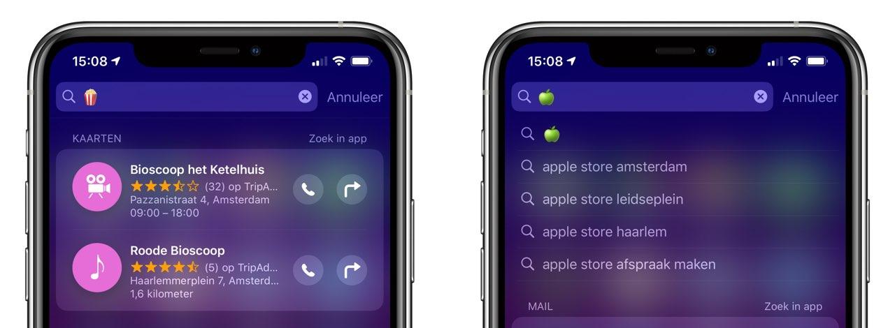Emoji zoeken in Spotlight