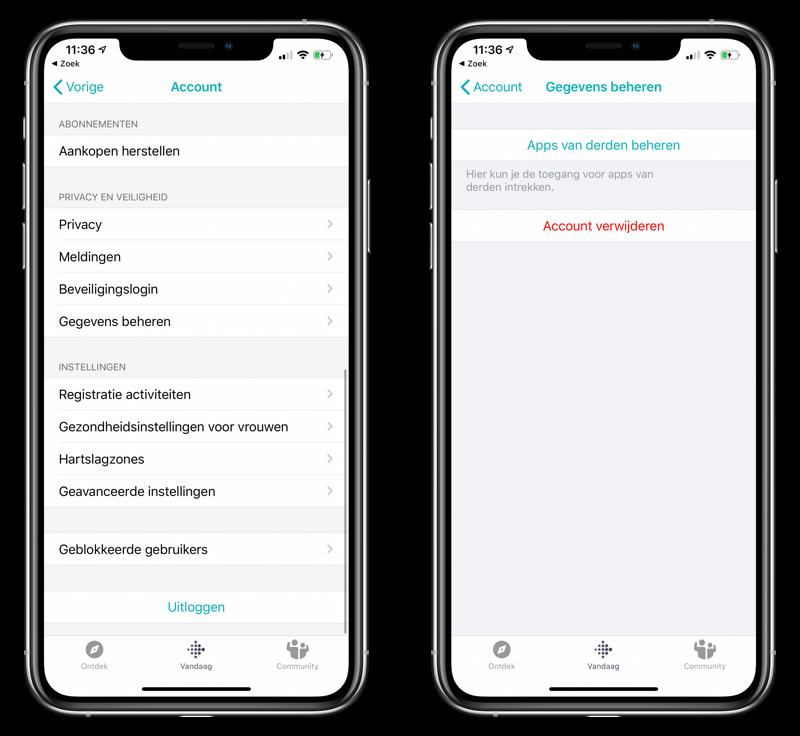 Fitbit account verwijderen in app