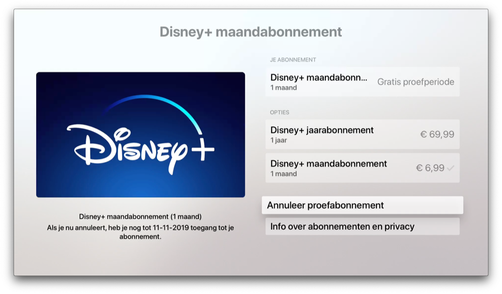 Disney Plus opzeggen op Apple TV.