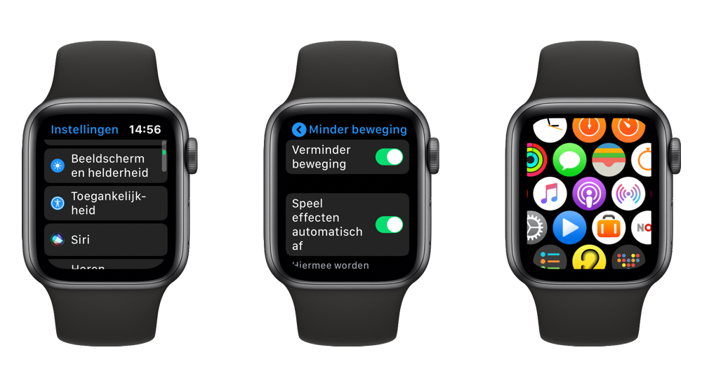 Apple Watch iconen beweging verminderen
