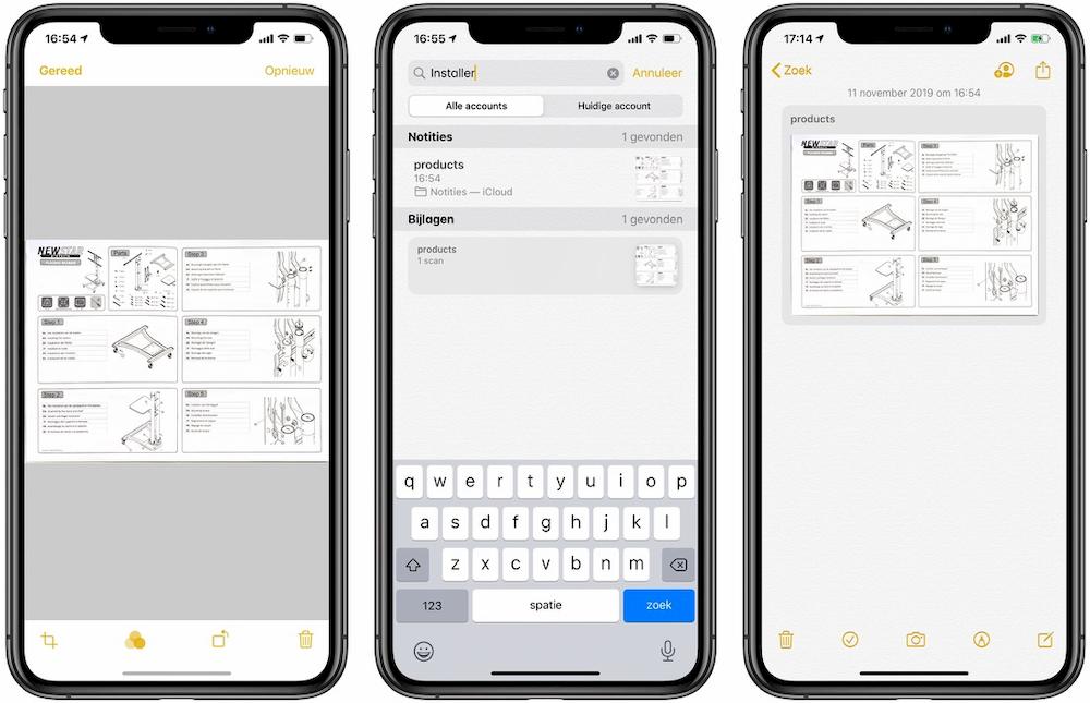 Documenten scannen en doorzoeken Notities-app Apple