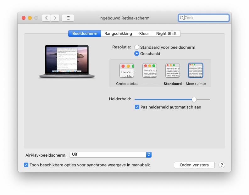 Schermresolutie aanpassen Mac