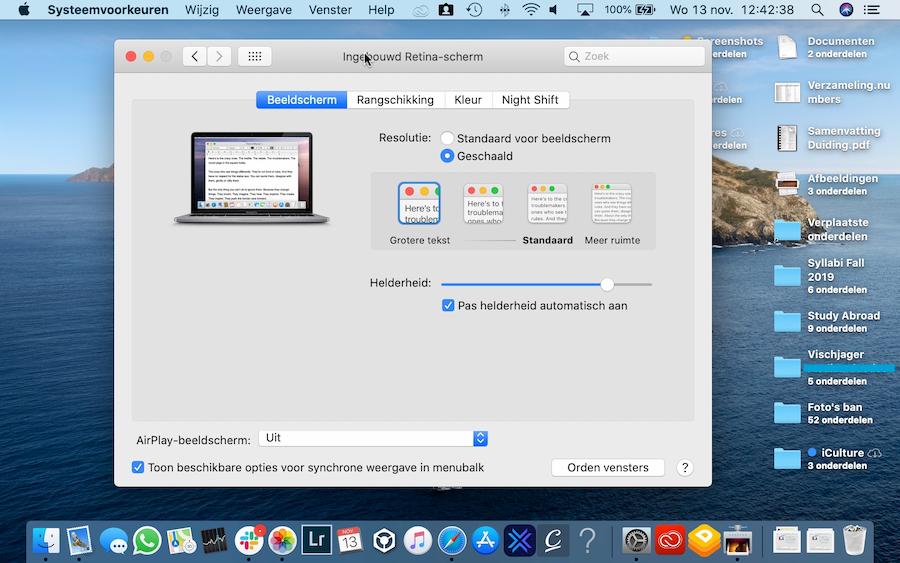 Screenshot grote tekst Mac