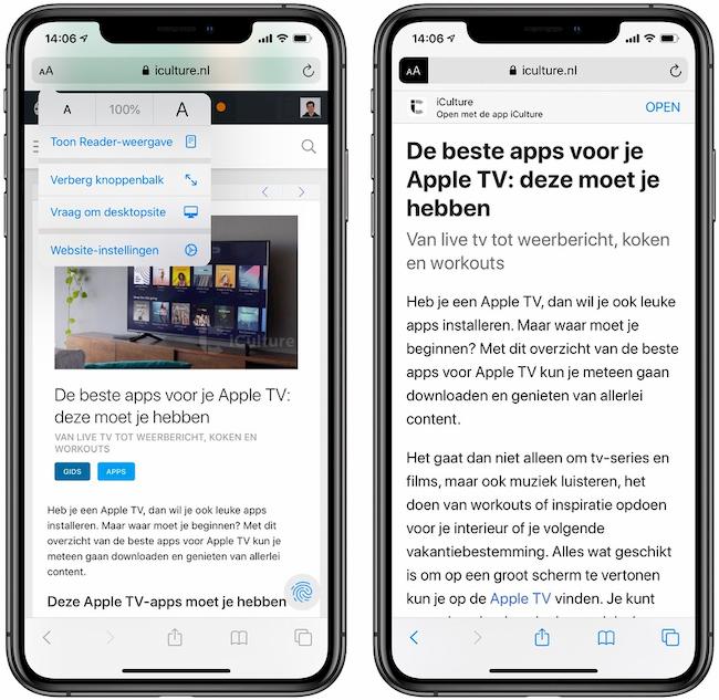 Reader-weergave Safari iOS