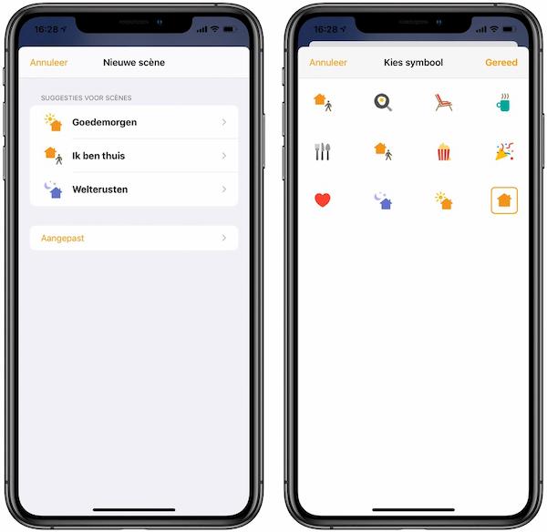Scène toevoegen Woning-app HomeKit