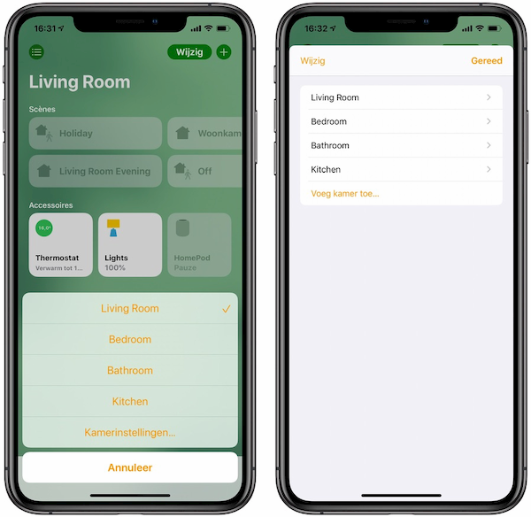 Kamer toevoegen Woning-app HomeKit