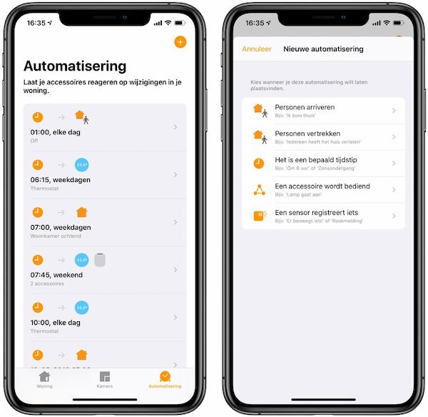 Automatisering aanmaken Woning-app HomeKit