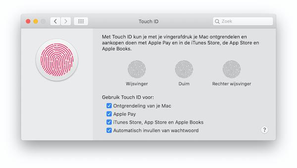 Touch ID instellingen Mac