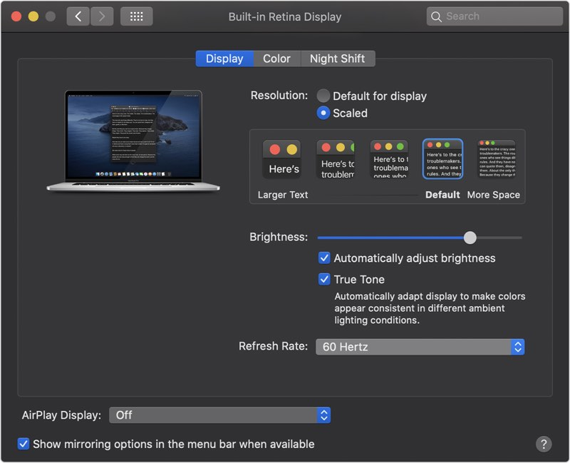 macOS display refresh rate