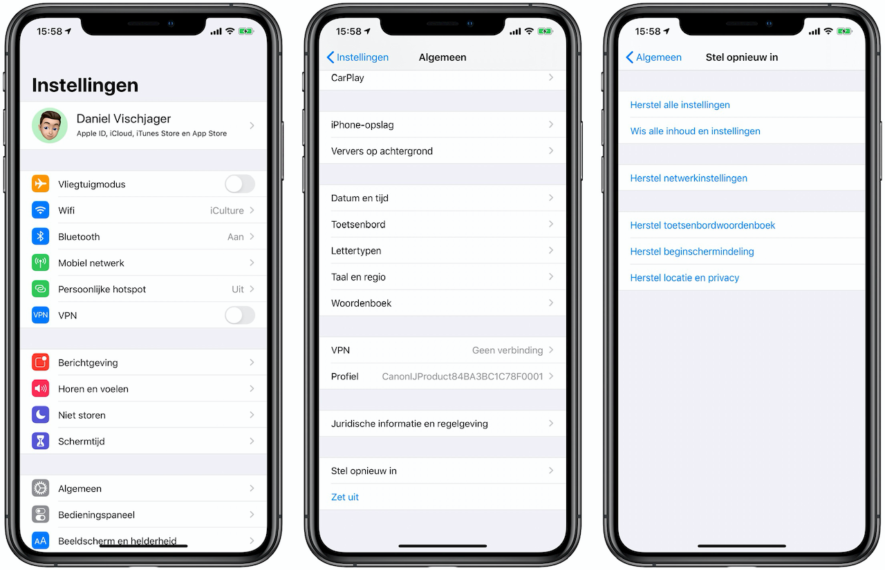 Herstel instellingen iOS