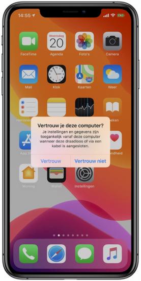 Vertrouw deze computer melding iPhone