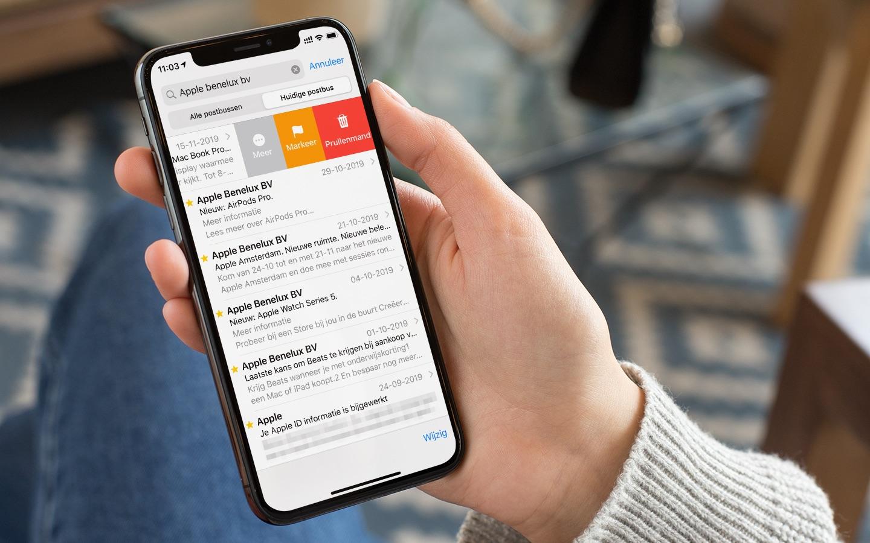 Mail veegacties op iPhone.