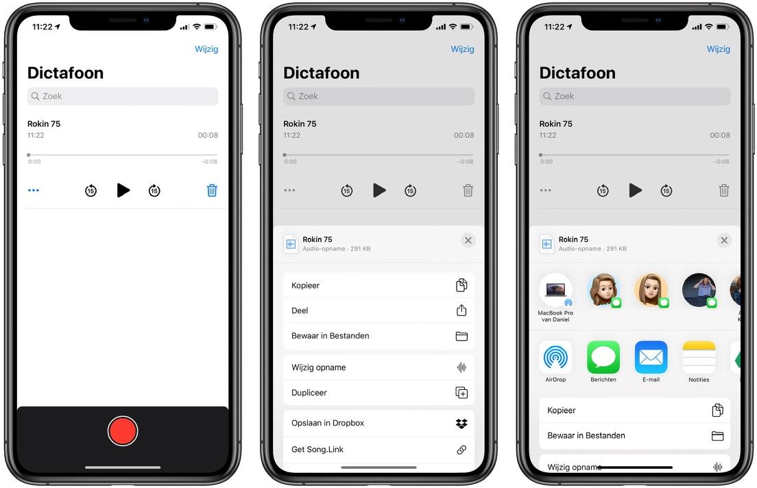 Spraakmemo delen iOS