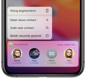 Telefoon-app widget favoriete contacten
