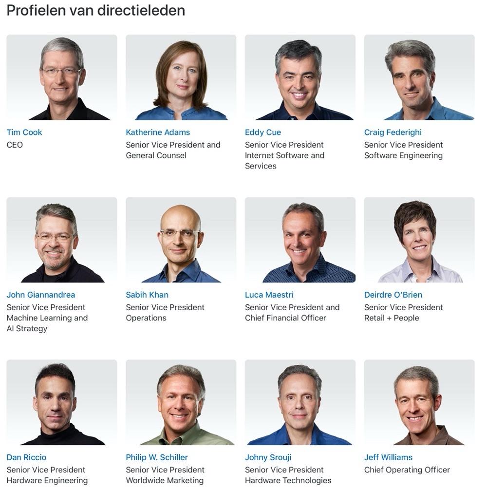 Apple organisatie: leiderschap anno november 2019.