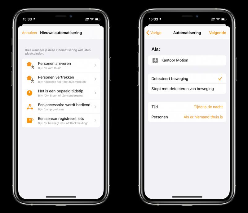 Woning-app: HomeKit bewegingssensor instellen bij niemand thuis.