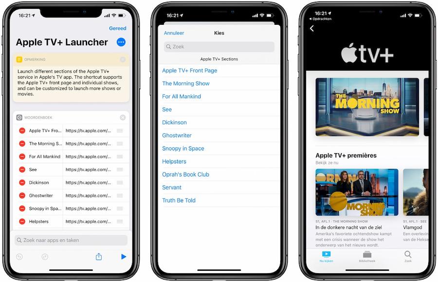 Snel Apple TV+ openen shortcut