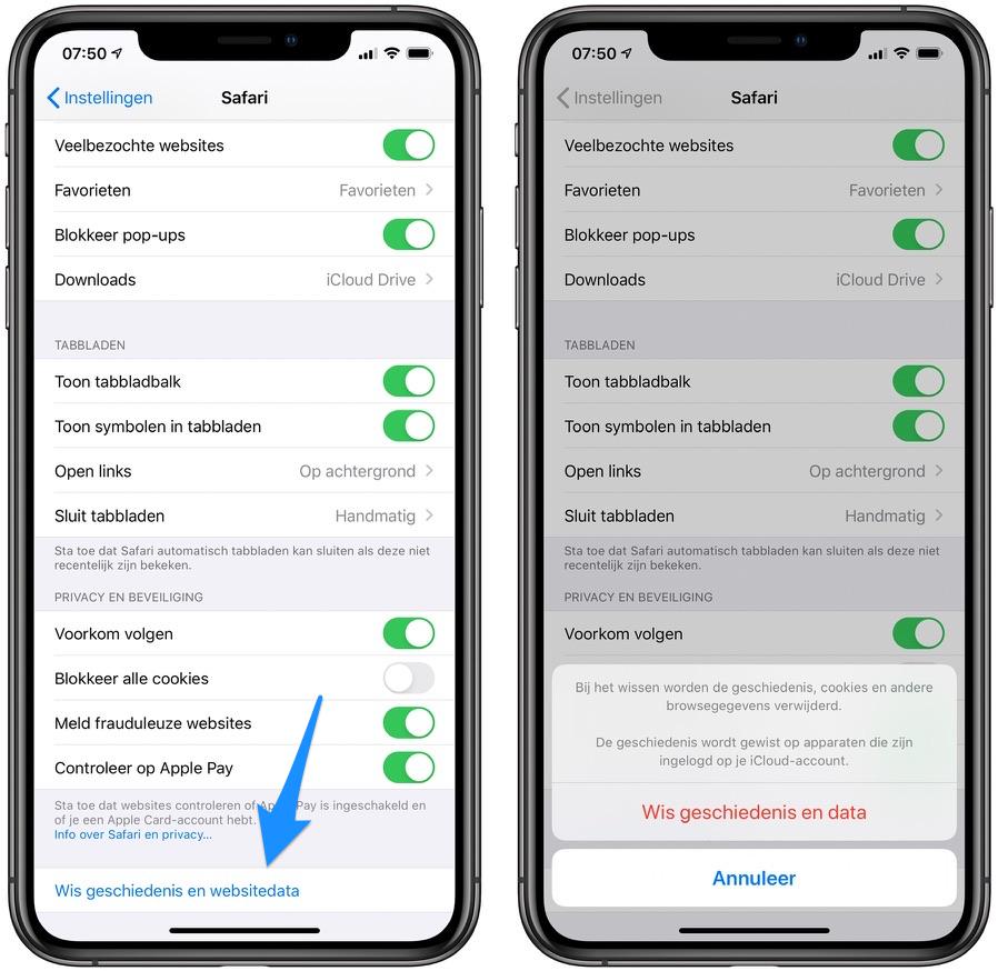 Wis geschiedenis en websitedata Safari iOS