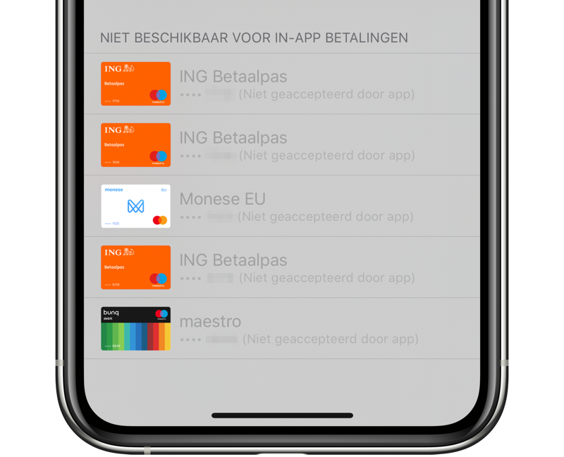 Apple Pay in App Store met niet-geschikte kaarten.
