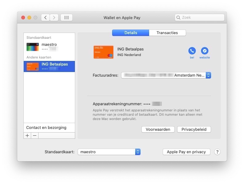 Standaardkaart Apple Pay Mac