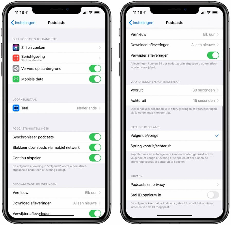 Podcasts instellingen iOS 13