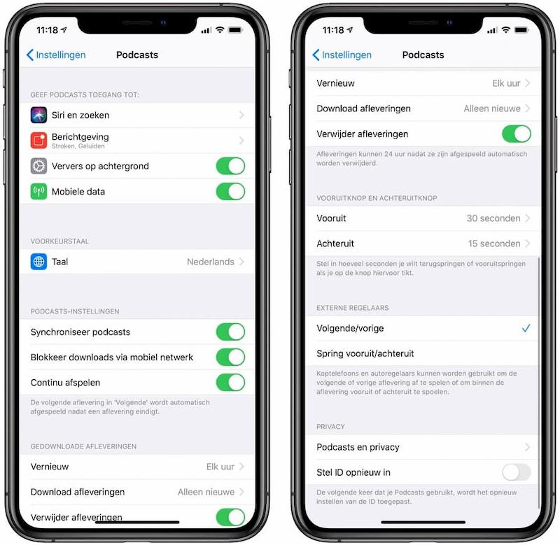 Podcasts instellingen iOS 13