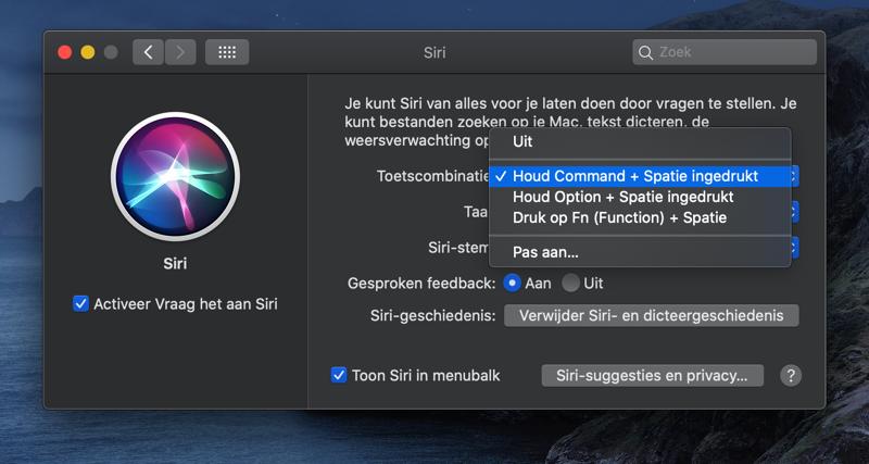 Siri op Mac activeren