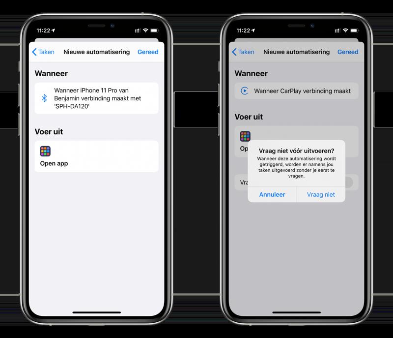Automatisering voor Bluetooth carkit en CarPlay om je favoriete app te openen.