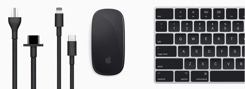 Mac Pro zwarte muis en zwart toetsenbord