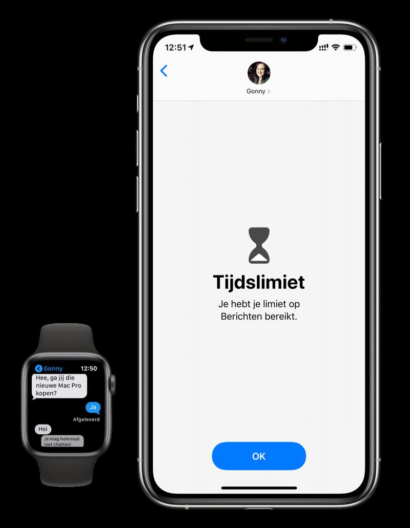 Communicatielimieten actief in iMessage, maar niet op Apple Watch.